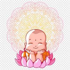 Sorridente bebê monge na flor de lótus com fundo de mandala, Vesak ...